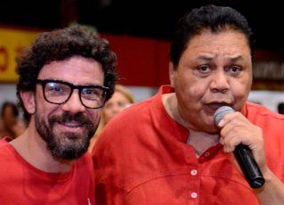 Zé Paulo Sierra e Dominguinhos, intérpretes da Viradouro. Foto: Carlos Papacena/Divulgação