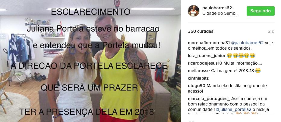Instagram de Paulo Barros. Foto: Rede Social/Reprodução