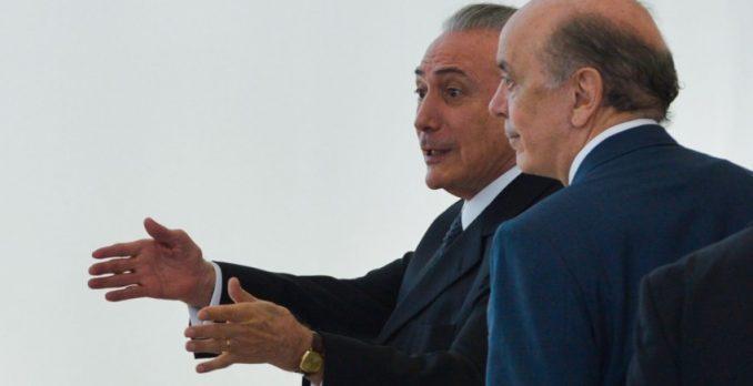 Michel Temer e Serra. Foto: Jose Cruz/Agência Brasil