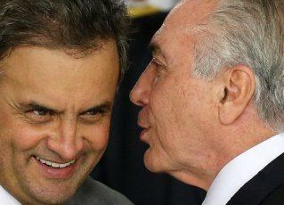 Aécio Neves e Michel Temer. Foto: Agência Brasil