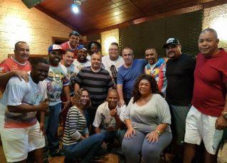 Ricardinho e Vitor Alves - Gravação do samba daInocentes de Belford Roxo. Foto: Divulgação