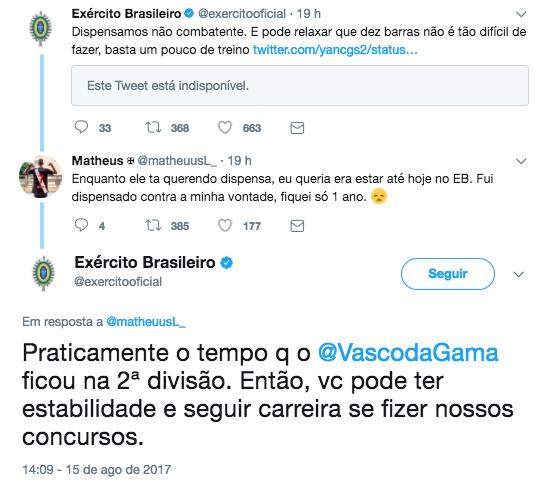 Postagem do Exército ironiza Vasco. Foto  Reprodução Twitter 0628283ba54e0