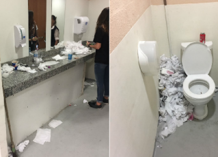 Banheiros usados por trabalhadores do Rock in Rio. Foto: Divulgação/Vigilância Sanitária