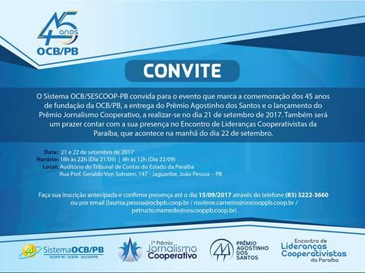 Convite para o Encontro de Lideranças Cooperativistas na Paraíba. Foto: Reprodução