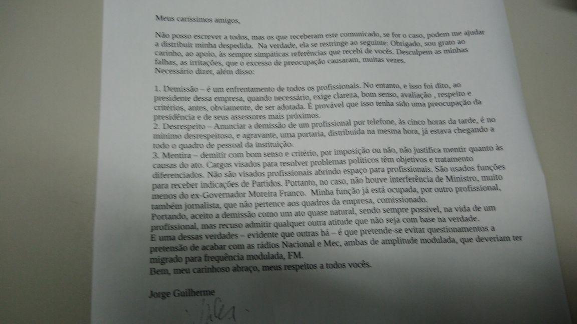 Carta despedida de Jorge Guilherme. Foto: Reprodução
