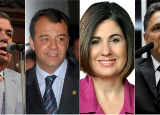 Jorge Picciani, Sérgio Cabral, Rosinha Garotinho e Anthony Garotinho. Fotos: Divulgação