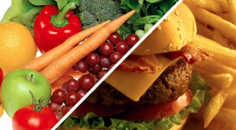 Alimentação saudável x Fastfood. Foto: Reprodução