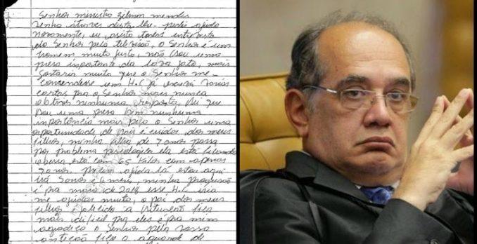Ministro Gilmar Mendes recebeu carta de uma detenta. Foto: Divulgação