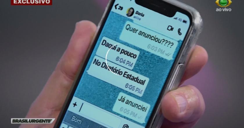 Datena mostra conversa com Doria pelo Whatsapp. Foto: Reprodução
