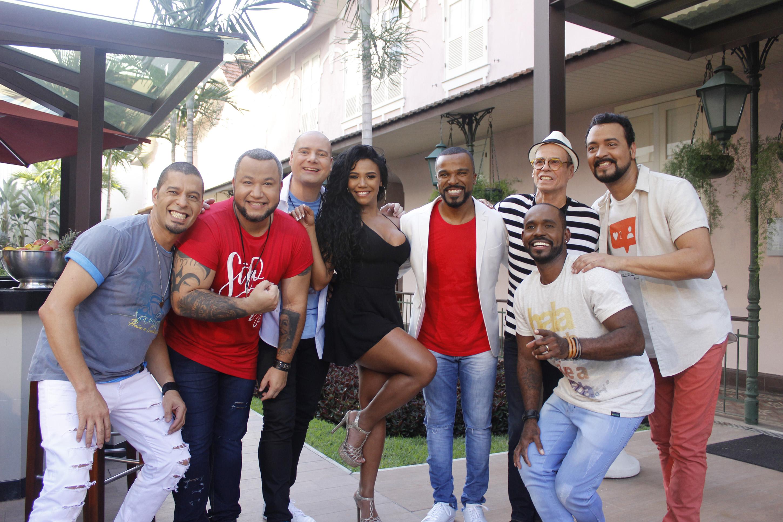 Grupo Dose Certa, Evelyn Bastos, Alexandre Pires e Carlinhos de Jesus. Foto: Mauro Mello