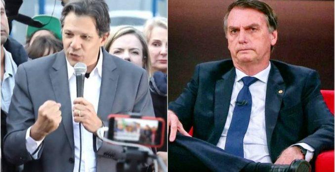 Fernando Haddad e Jair Bolsonaro. Foto: Reprodução