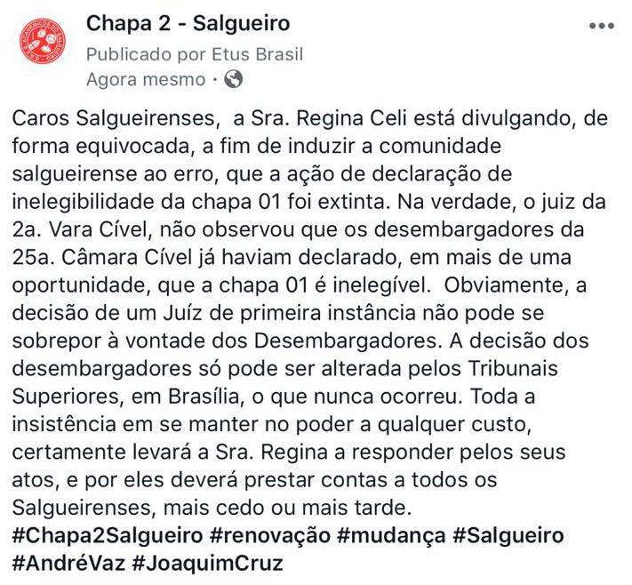 Interpretação sobre decisão judicial volta a gerar polêmica no Salgueiro. Foto: Reprodução/Facebook