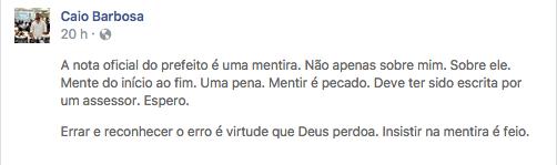 Nota Caio Barbosa. Foto; Reprodução