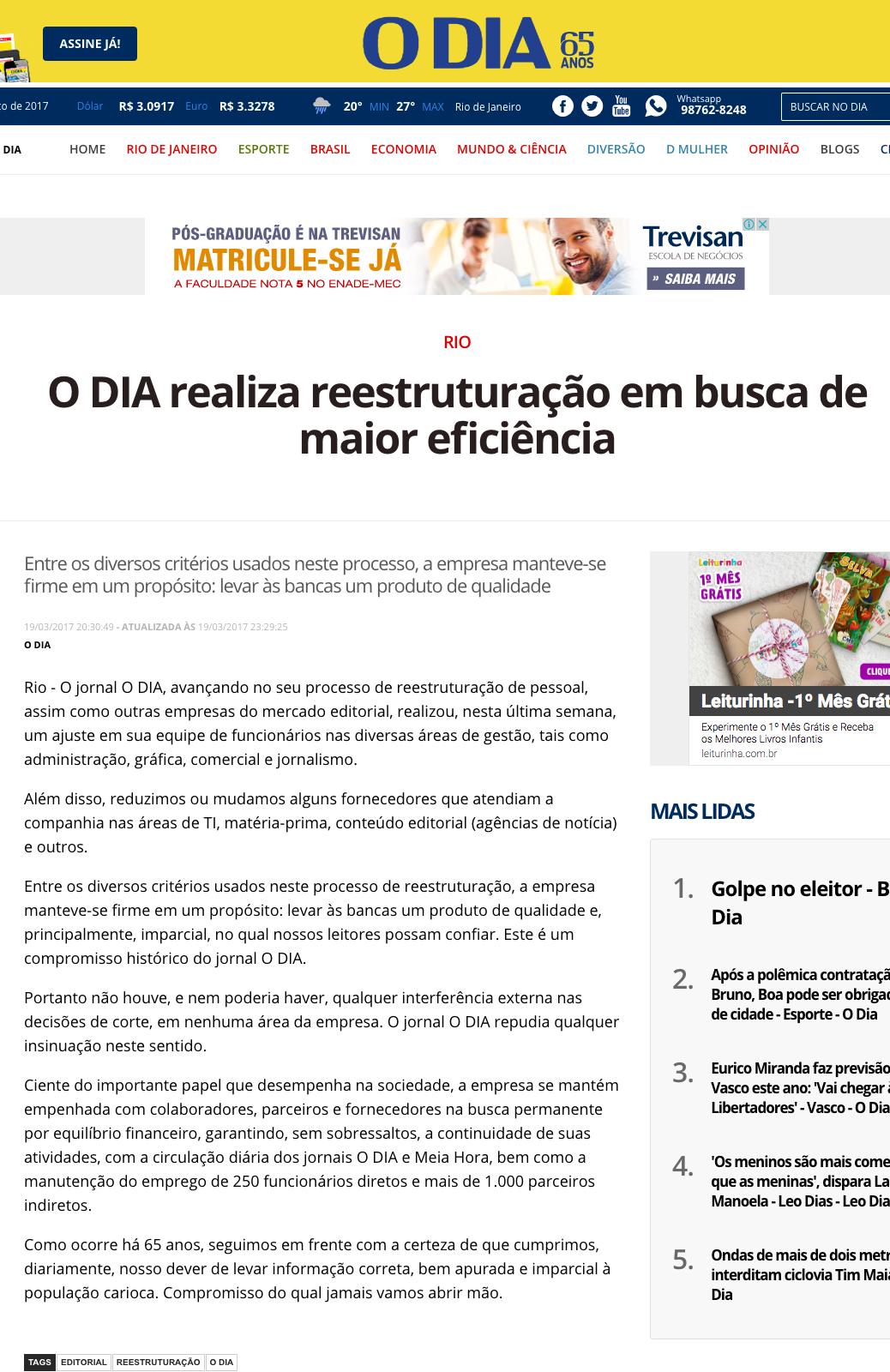 Editorial de O Dia. Foto: Reprodução.