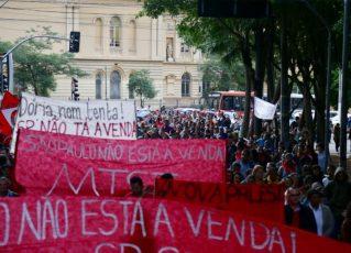 Manifestação no centro de SP. Foto: Paulo Pinto/AGPT