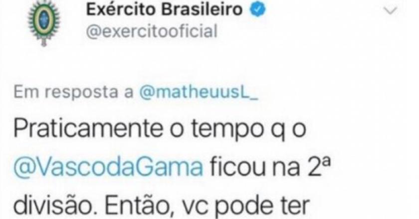 Twitter do Exército faz piada com Vasco 02a247488a04f