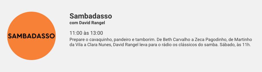 Descrição do Sambadasso no site da Rádio Globo. Foto: Reprodução