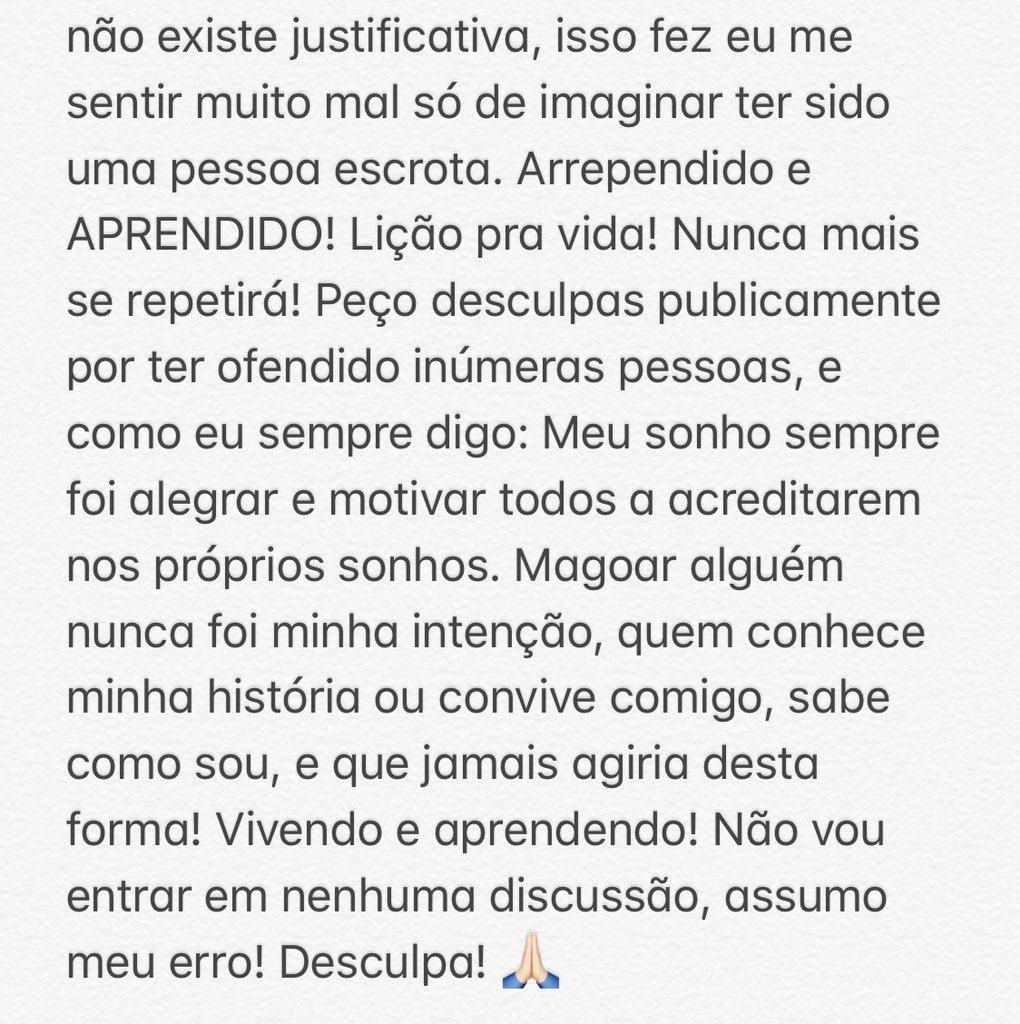 Nota de Júlio Cocielo sobre comentário apontado como racista. Foto: Reprodução/Twitter