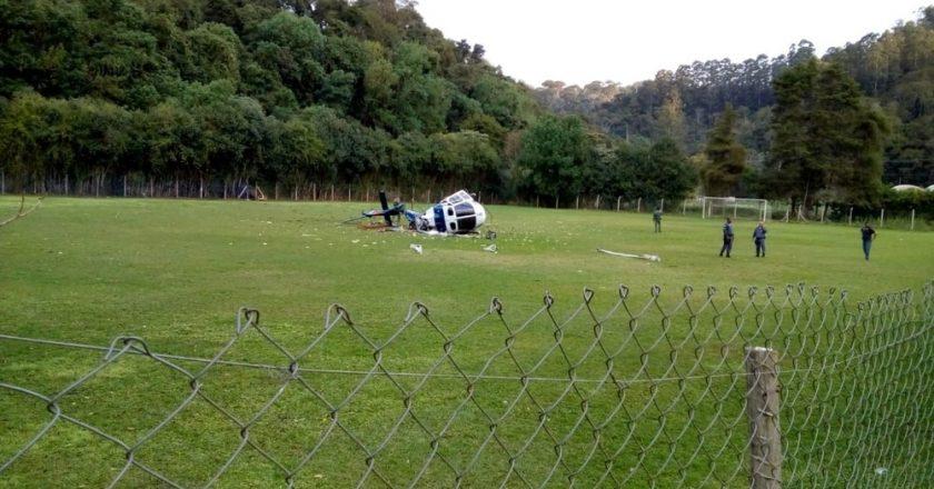 Helicóptero cai em Domingos Martins. Foto: Reprodução/TV Gazeta
