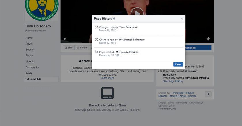 Facebook derruba rede de páginas e perfis a favor de Bolsonaro. Foto: Reprodução de Internet