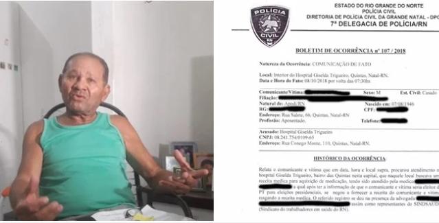idoso diz que médica rasgou sua receita após ele revelar voto para Haddad. Foto: Reprodução