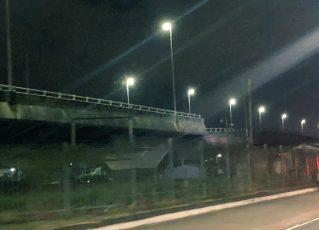 Viaduto da Marginal Pinheiros afunda. Foto: Reprodução/Twitter