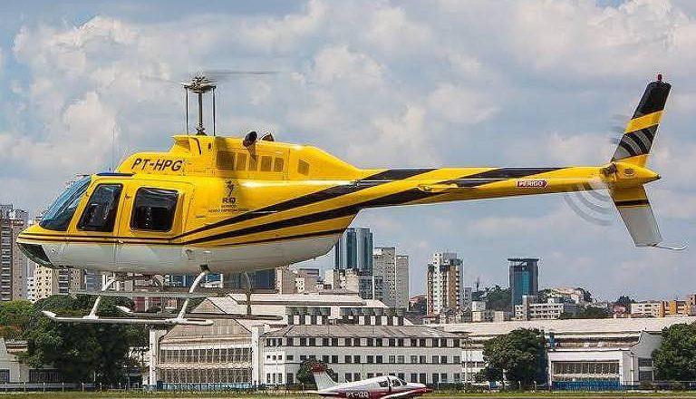 Helicóptero que caiu na Rodovia Anhanguera. Foto: Reprodução de Internet