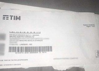Cliente da Tim recebe fatura com xingamentos. Foto: Reprodução/Arquivo Pessoal