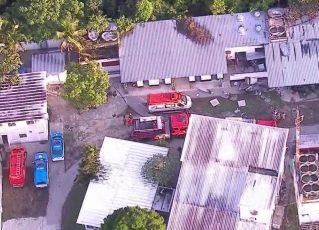 Incêndio no Ninho do Urubu, o centro de treinamento do Flamengo. Foto: Reprodução de TV