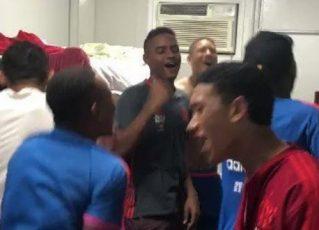 Vídeo mostra jogadores comemorando vitória no alojamento do Flamengo. Foto: Reprodução de Internet