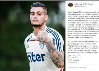 Goleiro do São Paulo detona técnico Vagner Mancini nas redes sociais. Foto: Reprodução de Internet