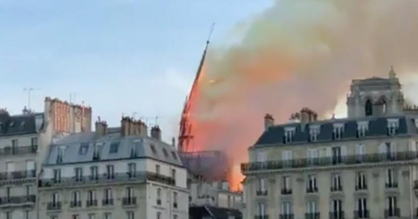 Incêndio na catedral de Notre-Dame. Foto: Reprodução de TV