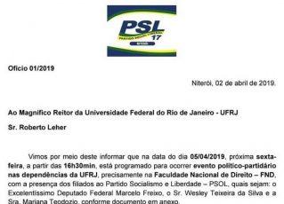 Ofício enviado pelo PSL a UFRJ Foto: Reprodução de Internet