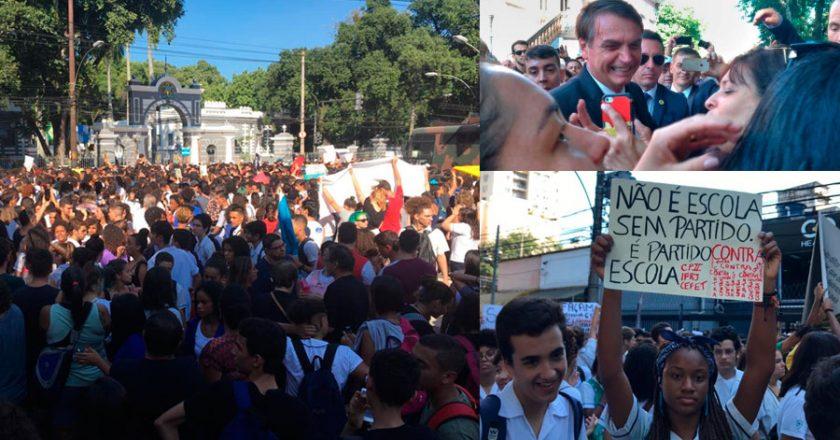 Alunos e professores em ato contra Bolsonaro no Rio de Janeiro. Foto: Reprodução/Twitter