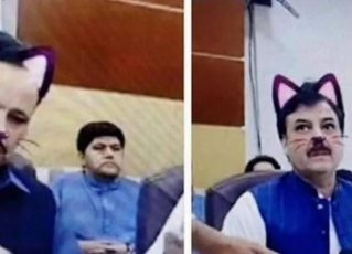 Funcionários do governo paquistanês esqueceram de desativar o filtro de gato em uma live do Facebook. Foto: Reprodução de Internet