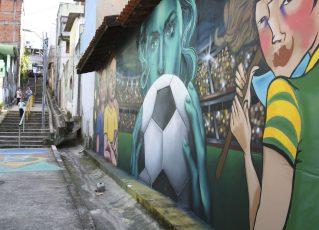 Mural pintado para a Copa do Mundo Feminina. Foto: Rovena Rosa/Agência Brasil