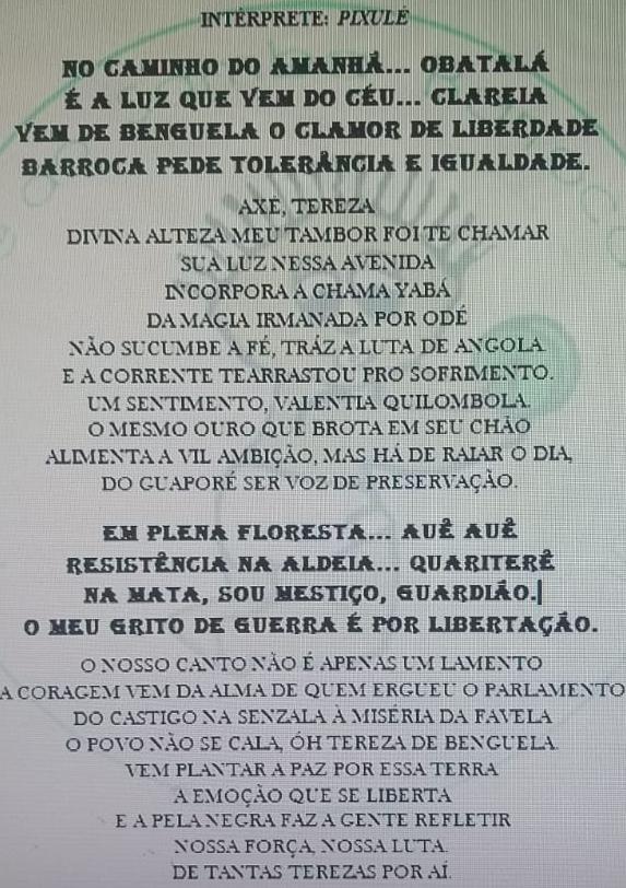 Letra do samba-enredo da Barroca 2020. Foto: Divulgação