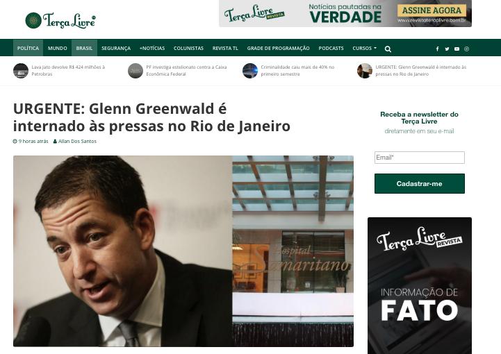 Fake News sobre Glenn Greenwald. Foto: Reprodução