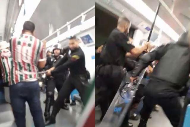 Torcedores do Fluminense são agredidos por funcionários do metrô. Foto: Reprodução de Internet