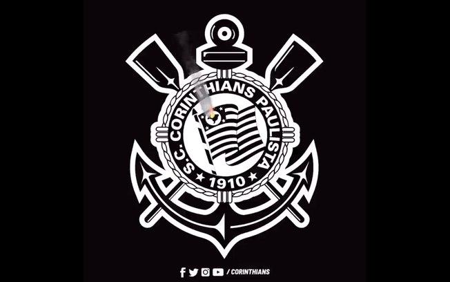 Corinthians exibe escudo 'pegando fogo' em protesto contra queimadas na Amazônia. Foto: Reprodução de Internet