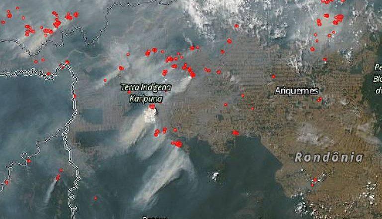 Focos de incêndio em Rondônia. Foto: Nasa