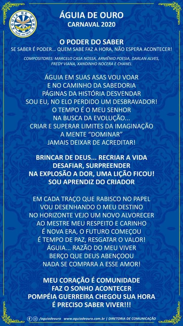 Letra do samba da Águia de Ouro para o Carnaval de 2020. Foto: Divulgação
