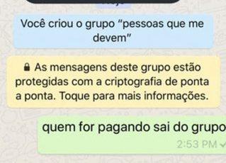 Menina cria grupo no WhatsApp para cobrar dívidas de amigos. Foto: Reprodução de Internet