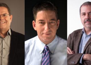 Sidney Rezende, Glenn Greenwald e Chico Otávio. Fotos: Leonardo Vilela/Divulgação/Divulgação