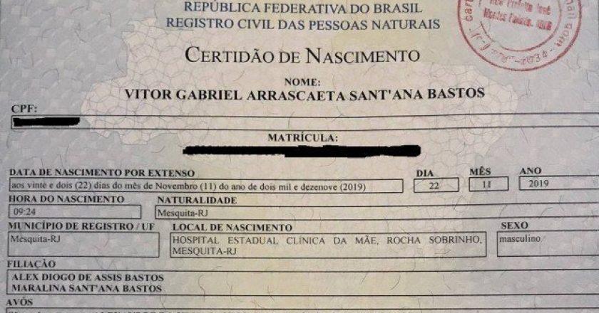Criança é registrada com 'Gabriel Arrascaeta' no nome em homenagem aos títulos do Flamengo. Foto: Reprodução