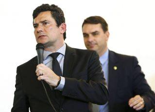 Sergio Moro e Flávio Bolsonaro. Foto:Marcelo Camargo/Agência Brasil