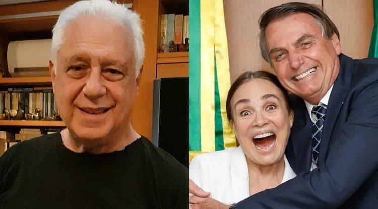 Antonio Fagundes, Regina Duarte e Jair Bolsonaro. Foto: Reprodução de Internet