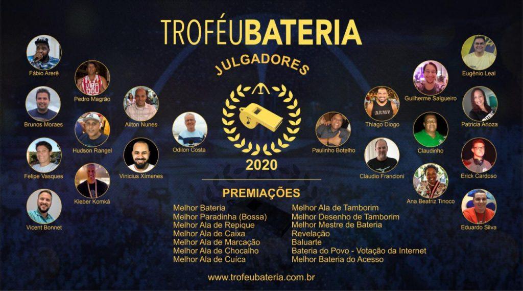 Lista de julgadores 2020 - Troféu Bateria. Foto: Divulgação