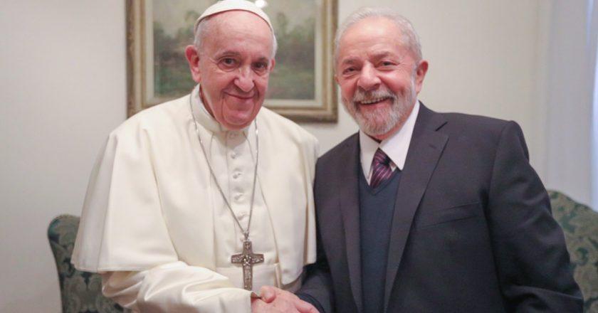 Lula publica foto ao lado do Papa Francisco. Foto: Reprodução