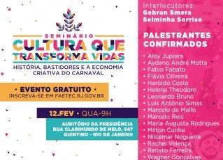 Faetec promove seminário sobre Carnaval. Foto: Divulgação